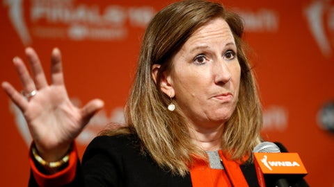 <p>               FILE - In this Sept. 29, 2019, file photo, WNBA Commissioner Cathy Engelbert speaks at a news conference before Game 1 of basketball's WNBA Finals in Washington. Engelbert said in a phone interview with The Associated Press on Friday, May 15, 2020, that the league is focusing on about a half dozen scenarios to play this summer during the coronavirus pandemic. Engelbert did not go into detail about each scenario, but said that they are looking at playing in either one or a couple of sites at most instead of at every home arena. (AP Photo/Patrick Semansky, File)             </p>