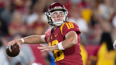 <p>               FILE - This Sept. 31, 2019 photo shows Southern California quarterback JT Daniels in an NCAA football game against Fresno State in Los Angeles. Daniels has entered the transfer portal. He announced his plan Thursday, April 16, 2020. Coach Clay Helton says the door is still open for Daniels to stay at USC, where Kedon Slovis took advantage of Daniels' knee injury to become the Trojans' starting quarterback last season. (AP Photo/Kyusung Gong)             </p>