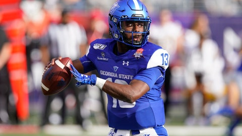 <p>               FILE - In this Dec. 31, 2019, file photo, Georgia State quarterback Dan Ellington (13) is shown in the first half during the Arizona Bowl college football game against Wyoming in Tucson, Ariz. Former Georgia State quarterback Dan Ellington, the team's starter the last two years, is joining coach Shawn Elliott's staff as an assistant coach.  (AP Photo/Rick Scuteri, File)             </p>