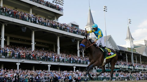 <p>               FILE - In this May 2, 2015, file photo, Victor Espinoza rides American Pharoah to victory in the 141st running of the Kentucky Derby horse race at Churchill Downs in Louisville, Ky. American Pharaoh went on to win the Triple Crown a few weeks later. More than a dozen thoroughbreds had come up a race short of becoming racing's first Triple Crown winner since Affirmed in 1978, until American Pharoah ended the 37-year drought in 2015. (AP Photo/David J. Phillip, File)             </p>