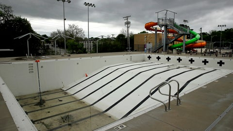 <p>               In this photo taken Friday, May 15, 2020, the public pool in Mission, Kan. is lifeless as plans remain in place to keep the pool closed for the summer to help prevent the spread of COVID-19. As warm weather approaches and many public pools remain closed there has been a surge of people using backyard pools as well at taking to water activities on lakes and rivers to get out and cool off. (AP Photo/Charlie Riedel)             </p>