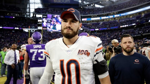 <p>               FILE - In this Dec. 29, 2019, file photo, Chicago Bears quarterback Mitchell Trubisky walks off the field after an NFL football game against the Minnesota Vikings in Minneapolis. Th Bears have declined their fifth-year option for Trubisky for the 2021 season, a person familiar with the situation said Saturday, May 2, 2020. The move is hardly a surprise considering the way Trubisky struggled in his third season since the Bears drafted him with the No. 2 overall pick. (AP Photo/Andy Clayton-King, File)             </p>