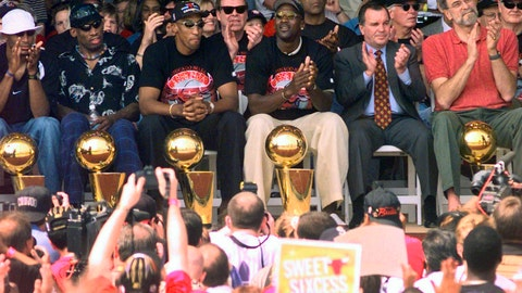 "<p>               FILE - In this June 16, 1998, file photo, NBA Champions, from left: Ron Harper, Dennis Rodman, Scottie Pippen, Michael Jordan and coach Phil Jackson are joined on stage by Chicago Mayor Richard Daley, second from right, during a city-wide rally in Chicago to celebrate the Chicago Bulls 6th NBA championship. Jordan described his final NBA championship season with the Chicago Bulls as a ""trying year."" ""We were all trying to enjoy that year knowing it was coming to an end,"" Jordan told Good Morning America on Thursday, April 16, 2020.  (AP Photo/Beth A. Keiser, File)             </p>"