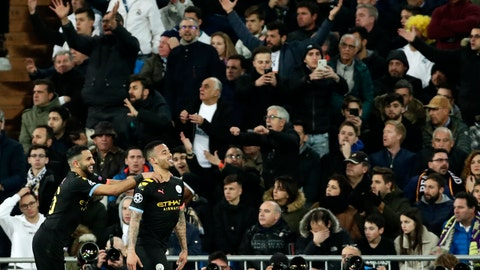 """<p>               FILE - In this Wednesday, Feb. 26, 2020 file photo, Manchester City's Gabriel Jesus, right, celebrates after scoring his side's opening goal during the Champions League, round of 16, first leg soccer match between Real Madrid and Manchester City at the Santiago Bernabeu stadium in Madrid, Spain. Manchester City's appeal against a two-year ban from European soccer will be heard over three days in June. The Court of Arbitration for Sport says it has set aside June 8-10 for the case. It is unclear if a hearing will be held in person at the court or by video link. No timetable was set for a verdict but a ruling is needed before English teams enter next season's Champions League draw. Man City was banned by UEFA in February for """"serious breaches"""" of financial monitoring rules and failing to cooperate with investigators. (AP Photo/Manu Fernandez, File)             </p>"""