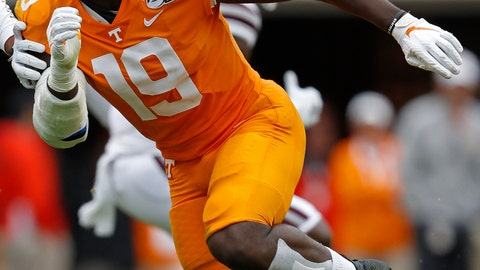 <p>               FILE - In this Oct. 12, 2019, file photo, Tennessee linebacker Darrell Taylor (19) plays against Mississippi State in the second half of an NCAA college football game in Knoxville, Tenn. In Darrell Taylor and Alton Robinson the Seattle Seahawks believe they could have their pass rushers of the future. (AP Photo/Wade Payne, File)             </p>