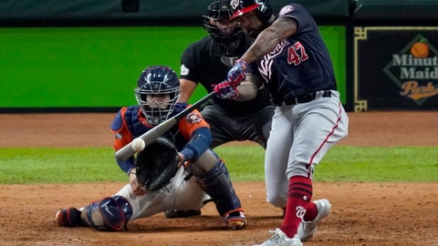 "<p>               FILE - In this Oct. 30, 2019, file photo, Washington Nationals' Howie Kendrick hits a two-run home run against the Houston Astros during the seventh inning of Game 7 of the baseball World Series in Houston. To many National League fans, the scribble of ""DH"" on the lineup card sullies the whole stadium. To lots of American League fans, the sight of a pitcher touching a Louisville Slugger is a total affront to the diamond. No matter, that's part of the proposal MLB owners are making to the players -- a full-time DH in the National League. This year only. (AP Photo/Eric Gay, File)             </p>"