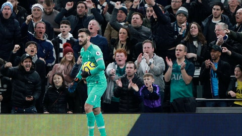 <p>               Supporters cheer Tottenham's goalkeeper Hugo Lloris after he stopped a penalty shot during the English Premier League soccer match between Tottenham Hotspur and Manchester City at the Tottenham Hotspur Stadium in London, England, Sunday, Feb. 2, 2020. (AP Photo/Ian Walton)             </p>