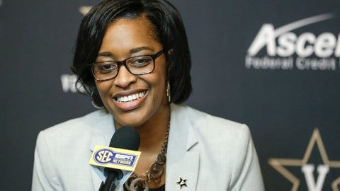 <p>               FILE - In this Feb. 5, 2020, file photo, Vanderbilt interim athletic director Candice Lee answers questions during a news conference in Nashville, Tenn. Vanderbilt has removed the interim title, making Candice Storey Lee the first black woman to become an athletic director in the Southeastern Conference. With Vanderbilt's announcement Wednesday, May 20, 2020, Lee now is among only five women in charge of a Power Five program. (AP Photo/Mark Humphrey, File)             </p>
