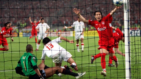 "<p>               FILE - In this Wednesday, May 25, 2005 file photo, Liverpool's Luis Garcia, right, celebrates after his teammate Xabi Alonso, behind him at right, scored his team's 3rd goal, during the Champions League Final between AC Milan and Liverpool at the Ataturk Olympic Stadium in Istanbul, Turkey. M is for Miracle, as in the Miracle of Istanbul. 3-0 down at halftime, Liverpool looked finished. But in an incredible six-minute period early in the second half, Liverpool, inspired by captain Steven Gerrard, had erased the deficit. The match ended up going to a penalty shootout, which Liverpool won to claim its fifth European Cup in the ""The Miracle of Istanbul."" (AP Photo/Thomas Kienzle, File)             </p>"