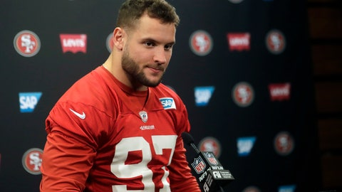 <p>               FLE - In this Jan. 23, 2020, file photo, San Francisco 49ers defensive end Nick Bosa speaks at a news conference at the team's NFL football training facility in Santa Clara, Calif. Bosa is doing his best to make an uncertain offseason as normal as possible. Forced to be training back at home in South Florida with his Pro Bowl brother Joey instead of his San Francisco 49ers teammates, the younger Bosa has found a routine amid the COVID-19 pandemic.(AP Photo/Jeff Chiu, File)             </p>