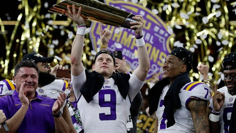 <p>               FILE - In this Monday, Jan. 13, 2020, file photo, LSU quarterback Joe Burrow holds the trophy as safety Grant Delpit looks on after LSU defeated Clemson 42-25 in the NCAA College Football Playoff national championship game, in New Orleans. Imagine if a pandemic had shortened or wiped out that last, golden season for Burrow, who won the Heisman Trophy and led LSU to the national championship. Would he still have emerged as the first overall NFL draft pick? (AP Photo/Sue Ogrocki, File)             </p>