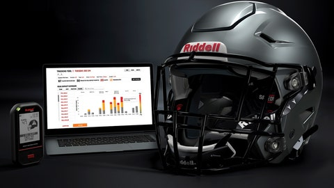 <p>               In this May 2020 photo provided by Riddell, a Riddell SpeedFlex helmet sits next to a computer screen displaying information from the InSite tool. Teaming with Catapult, an Australia-based technology company, Riddell is providing coaches, players and medical staff detailed information regarding anything from practice regimens to helmet contacts to overall preparation for athletes. (Riddell via AP)             </p>