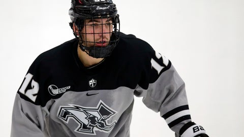 <p>               FILE - In this Nov. 1, 2019, file photo, Providence's Jack Dugan (12) skates during an NCAA college hockey game against Colgate in Providence, R.I. NCAA leading scorer Dugan has agreed to turn pro and join the Vegas Golden Knights. (AP Photo/Stew Milne, File)             </p>