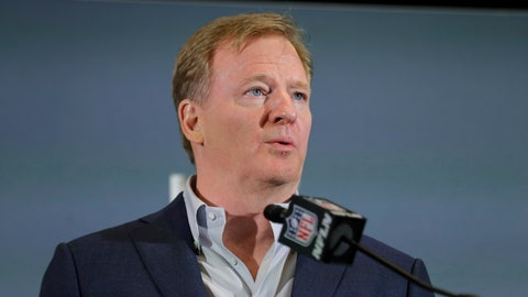 <p>               FILE - In this Feb. 3, 2020 file photo NFL Commissioner Roger Goodell speaks during a news conference in Miami. The NFL has set protocols for reopening team facilities and has told the 32 teams to have them in place by May 15. In a memo sent by Goodell and obtained Wednesday, May 6, 2020 by The Associated Press, several phases of the protocols were laid out. The first phase would involve a limited number of non-player personnel, initially 50 percent of the non-player employees (up to a total of 75) on any single day, being approved to be at the facility. But state or local regulations could require a lower number. (AP Photo/Brynn Anderson, file)             </p>
