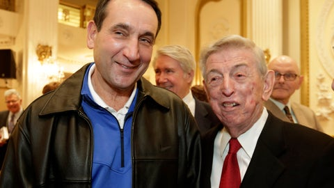 <p>               FILE - In this Nov. 20, 2015, file photo, Duke basketball coach Mike Krzyzewski, left, winner of the Lapchick Character Award, gets together with former St. John's basketball coach Lou Carnesecca at the organization's annual luncheon, in New York. Krzyzewski and Carnesecca are among those who teamed up with Madison Square Garden for a video posted on social media Wednesday night, May 13, 2020, saluting essential workers leading the fight against the coronavirus. (AP Photo/Richard Drew, File)             </p>