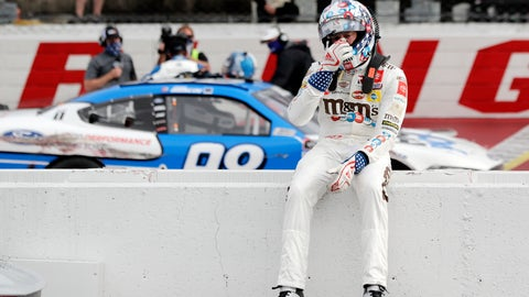 <p>               Kyle Busch sits on the wall as Chase Briscoe celebrates behind him after Briscoe edged out Busch to win the NASCAR Xfinity series auto race Thursday, May 21, 2020, in Darlington, S.C. (AP Photo/Brynn Anderson)             </p>