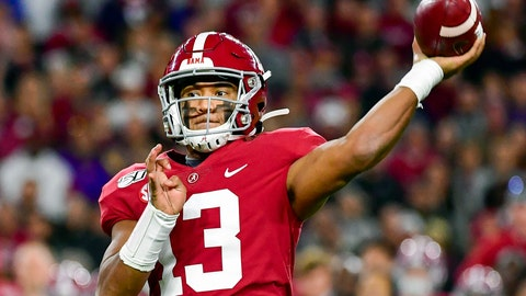 <p>               FILE - In this Nov. 9, 2019, file photo, Alabama quarterback Tua Tagovailoa passes during an NCAA college football game against LSU in Tuscaloosa, Ala. Tagovailoa is a rarity in the NFL: a left-handed quarterback, something the league hasn't had in several years. (AP Photo/Vasha Hunt, File)             </p>