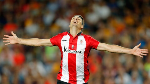 <p>               FILE - In this Aug. 17, 2015 file photo, Athletic Bilbao's Aritz Aduriz celebrates after scoring against FC Barcelona during a Spanish Super Cup soccer match at the Camp Nou stadium in Barcelona, Spain. Aduriz announced his retirement from soccer on Wednesday May 20, 2020 a day after finding out he needs a hip replacement that will keep him from continuing to perform as an athlete. (AP Photo/Manu Fernandez, File)             </p>