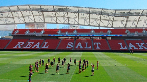 <p>               FILE - In this Sept. 12, 2014 file photo, members of the U.S. Women's National team warm up during practice at Rio Tinto Stadium in Sandy, Utah. Pro soccer returns to the U.S. next month when the National Women's Soccer League starts a 25-game tournament in a pair of stadiums in Utah that will be kept clear of fans to protect players from the coronavirus. Players from the nine teams will train and live at two Salt Lake City-area hotels, the league announced Wednesday, May 27, 2020. (AP Photo/Rick Bowmer, File)             </p>