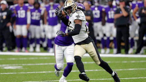 <p>               FILE - In this Aug. 9, 2019, photo, New Orleans Saints cornerback Eli Apple (25) shrugs off a block in the first half of an NFL preseason football game against the Minnesota Vikings in New Orleans. The Carolina Panthers have agreed to terms with free agent cornerback Apple. The move gives the Panthers the experienced cornerback they coveted after James Bradberry signed as a free agent with the Giants. (AP Photo/Bill Feig)             </p>