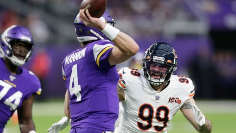 <p>               FILE - In this Dec. 29, 2019, file photo, Chicago Bears outside linebacker Aaron Lynch (99) pressures Minnesota Vikings quarterback Sean Mannion (4) during the second half of an NFL football game in Minneapolis. Veteran pass rusher Aaron Lynch signed a one-year contract with Jacksonville on Tuesday, May 5, 2020, giving the Jaguars more depth in case disgruntled defender Yannick Ngakoue decides to skip part of the season.(AP Photo/Andy Clayton-King, File)             </p>