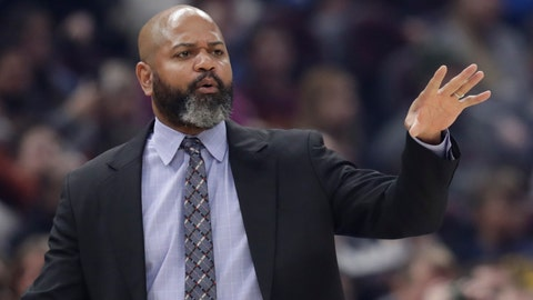 """<p>               FILE - In this March 2, 2020 file photo, Cleveland Cavaliers head coach J.B. Bickerstaff gives instructions to players in the first half of an NBA basketball game against the Utah Jazz in Cleveland. Even if the NBA doesn't resume this season, and at this point no one knows for sure, the Cavaliers believe it's time to start getting ready for the next one. """"Any minute that we can get working with each other is beneficial to us,"""" Cavs coach J.B. Bickerstaff said Wednesday, May 6, 2020. (AP Photo/Tony Dejak, File)             </p>"""