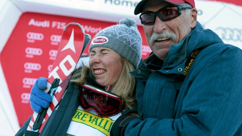 <p>               FILE - In this Nov. 25, 2015, file photo, first place finisher United States' Mikaela Shiffrin poses with her father Jeff Shiffrin after a women's World Cup slalom ski race in Aspen, Colo. When she's not winning races, two-time Olympic champion Mikaela Shiffrin unplugs by singing and playing guitar. Music was always a bond she shared with her late father, Jeff, who died on Feb. 2 after an accident at his home in Edwards, Colorado. Now music has become her escape.(AP Photo/Nathan Bilow, File)             </p>