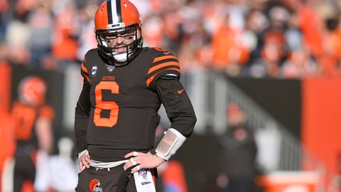 <p>               FILE - In this Dec. 22, 2019, file photo, Cleveland Browns quarterback Baker Mayfield reacts during an NFL football game against the Baltimore Ravens in Cleveland. The Browns quarterback said being away from football has given him time to reflect on his career and made him more determined to rebound from a tough second season in the NFL. Mayfield spoke Wednesday, May 27, 2020, on a Zoom call for the first time since the end of last season. (AP Photo/David Richard, File)             </p>