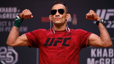 <p>               FILE - In this Oct. 5, 2018, file photo, Tony Ferguson poses during a ceremonial weigh-in for a UFC 229 mixed martial arts fight in Las Vegas. UFC 249 scheduled for May 9, 2020, at Jacksonville Arena will be headlined by lightweight title contenders Tony Ferguson and Justin Gaethje. (AP Photo/John Locher, File)             </p>