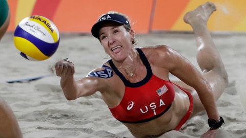 <p>               FILE - In this Aug. 17, 2016, file photo, United States' Kerri Walsh Jennings digs for a ball while playing Brazil during the women's beach volleyball bronze medal match of the Summer Olympics in Rio de Janeiro, Brazil. During the coronavirus pandemic, beach volleyball star Walsh Jennings has been doing online talks with young volleyball players, including one with the team at her alma mater of Archbishop Mitty H.S. in California. (AP Photo/Marcio Jose Sanchez, File)             </p>
