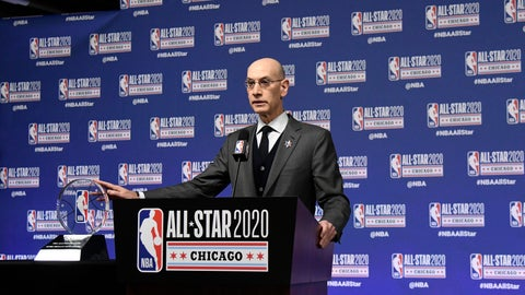 <p>               NBA Commissioner Adam Silver unveils the NBA All-Star Game Kobe Bryant MVP Award during a news conference Saturday, Feb. 15, 2020, in Chicago. (AP Photo/David Banks)             </p>