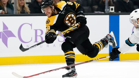 """<p>               FILE - In this Oct. 29, 2019, file photo, Boston Bruins' David Pastrnak shoots during the second period of an NHL hockey game against the San Jose Sharks in Boston. Washington's Alex Ovechkin and Boston's David Pastrnak share the Maurice """"Rocket"""" Richard Trophy the league announced Thursday, May 28, 2020. (AP Photo/Winslow Townson, File)             </p>"""