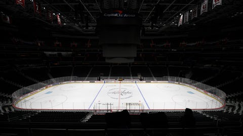 <p>               FILE - This is a March 12, 2020, file photo showing Capital One Arena, home of the Washington Capitals NHL hockey club in Washington. Get used to the concept of pods and pucks if the NHL is going to have any chance of completing its season, with the most likely scenarios calling for games in empty, air-conditioned arenas during the dog days of summer. (AP Photo/Nick Wass, File)             </p>