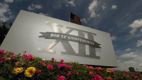 <p>               FILE - In this June 14, 2010, file photo,  a Big 12 sign is seen outside the conference headquarters in Irving, Texas. The coronavirus pandemic has shuttered sports at all levels, but all Big 12 schools expect their campuses to be open in the fall, lending hope to the possibility that football can start on time. (AP Photo/Cody Duty, File)             </p>