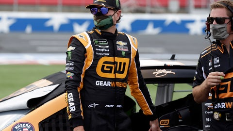 <p>               Driver Kurt Busch, left, watches on pit road during qualifying prior to a NASCAR Cup Series auto race at Charlotte Motor Speedway Sunday, May 24, 2020, in Concord, N.C. Busch won the pole position for the race. (AP Photo/Gerry Broome)             </p>