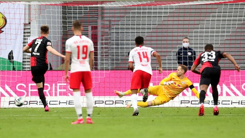 <p>               Berlin's Krzysztof Piatek, left, scores his side's second goal during the German Bundesliga soccer match between RB Leipzig and Hertha BSC at the Red Bull Arena in Leipzig, Germany, Wednesday, May 27, 2020. The German Bundesliga is the world's first major soccer league to resume after a two-month suspension because of the coronavirus pandemic. (Alexander Hassenstein/Pool via AP)             </p>