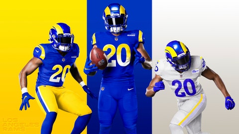 <p>               This undated graphic image released by the Los Angeles Rams NFL football team shows a composite of their new uniforms - two versions of 'royal,' from left, and 'bone' at right. The Rams have unveiled new uniforms ahead of their move into SoFi Stadium this year. (Los Angeles Rams via AP)             </p>