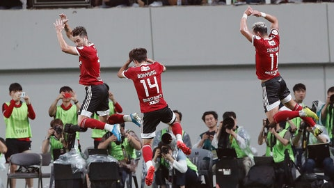 <p>               FILE - In this July 26, 2019, file photo, Cesinha, right, of Team K League jumps with his teammates to celebrate after scoring a goal against Juventus during a friendly match at the Seoul World Cup Stadium in Seoul, South Korea. Players, coaches and fans have two weeks to get used to new rules around soccer in South Korea after the K-League announced that the delayed season will kick off on May 8. (AP Photo/Ahn Young-joon, File)             </p>