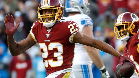 <p>               FILE - In this Nov. 24, 2019, file photo, then Washington Redskins cornerback Quinton Dunbar (23) reacts after intercepting a pass from Detroit Lions quarterback Jeff Driskel during the second half of an NFL football game in Landover, Md. Police in South Florida are trying to find New York Giants cornerback DeAndre Baker and Seattle Seahawks cornerback Dunbar after multiple witnesses accused them of an armed robbery at a party. Miramar police issued arrest warrants for both men Thursday, May 14, 2020. (AP Photo/Patrick Semansky, File)             </p>