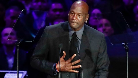 """<p>               FILE - In this Feb. 24, 2020, file photo, former NBA player Michael Jordan reacts while speaking during a celebration of life for Kobe Bryant and his daughter Gianna in Los Angeles. Jordan is """"deeply saddened, truly pained and plain angry."""" With protesters taking to the streets across the United States again Sunday, May 31, Jordan released a statement on George Floyd and the killings of black people at the hands of police. (AP Photo/Marcio Jose Sanchez, File)             </p>"""