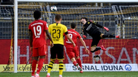 <p>               Dortmund's goalkeeper Roman Buerki, right, fails to safe a shot by Munich's Joshua Kimmich during the German Bundesliga soccer match between Borussia Dortmund and FC Bayern Munich in Dortmund, Germany, Tuesday, May 26, 2020. The German Bundesliga is the world's first major soccer league to resume after a two-month suspension because of the coronavirus pandemic. (Federico Gambarini/DPA via AP, Pool)             </p>