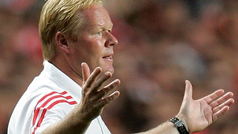 <p>               FILE - In this file photo dated Saturday, Aug. 6 2005, then Benfica's Dutch coach Ronal Koeman reacts during a friendly soccer match against Juventus, at Benfica's Luz stadium in Lisbon, Portugal.  Netherlands national coach, 57-year old Ronald Koeman underwent a heart procedure Sunday May 3, 2020, at a hospital in Amsterdam after feeling pain in his chest, his management company said in a statement. (AP Photo/Armando Franca, FILE)             </p>