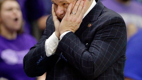 <p>               FILE - In this March 10, 2018, file photo, Stephen F. Austin head coach Kyle Keller reacts during the second half of an NCAA college basketball game against Southeastern Louisiana in the Southland Conference's men's basketball tournament championship game in Houston. Stephen F. Austin had three teams on a list released Tuesday that could have faced bans because they posted a four-year score below 930. Stephen F. Austin avoided postseason bans because of low scores on the NCAA's Academic Progress Rate on Wednesday, May 20, 2020, by agreeing to several sanctions including probation, scholarship reductions and the forfeiture of wins. Stephen F. Austin's men's basketball team had the lowest score of any team in Division I. (AP Photo/Michael Wyke, File)             </p>