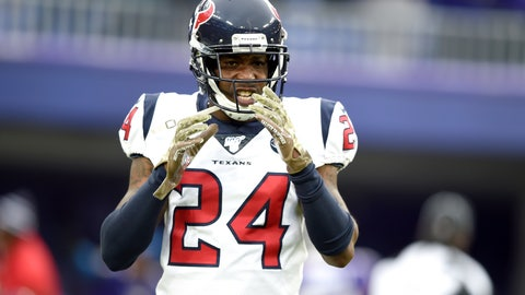 <p>               FILE - In this Nov. 17, 2019, file photo, Houston Texans cornerback Johnathan Joseph reacts after giving up a touchdown run to Baltimore Ravens running back Gus Edwards during the second half of an NFL football game in Baltimore. The Tennessee Titans have agreed to terms with veteran cornerback Johnathan Joseph as they continue to revamp their secondary. Joseph, a two-time Pro Bowl selection, has spent the last nine seasons with the Houston Texans after beginning his career with a five-year stint in Cincinnati. (AP Photo/Gail Burton, File)             </p>