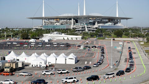 <p>               FILE - In this March 30, 2020, file photo, cars line up at a drive-thru coronavirus testing site in front of Hard Rock Stadium in Miami Gardens, Fla. Nobody can say with precise certainty how many coronavirus tests that the NBA, NHL and Major League Baseball would need before those leagues can resume playing games. (AP Photo/Wilfredo Lee, File)             </p>
