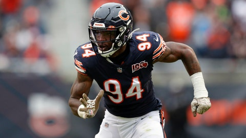 <p>               FILE - In this Nov. 10, 2019, file photo, Chicago Bears outside linebacker Leonard Floyd plays against the Detroit Lions during the second half of an NFL football game in Chicago. Floyd moved from Chicago to Los Angeles for the chance to realize his full potential as a pass rusher with the Rams. (AP Photo/Charles Rex Arbogast, FIle)             </p>