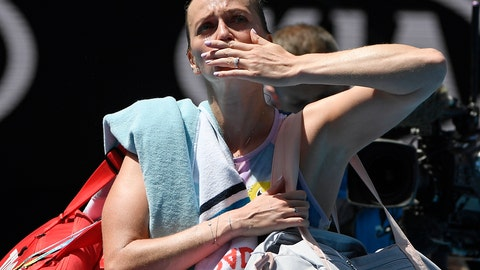 <p>               Petra Kvitova of the Czech Republic blows a kiss to the crowd as she leaves Rod Laver Arena following her quarterfinal loss to Australia's Ashleigh Barty at the Australian Open tennis championship in Melbourne, Australia, Tuesday, Jan. 28, 2020. (AP Photo/Andy Brownbill)             </p>