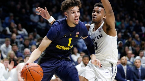 <p>               FILE - In this Wednesday, Jan. 29, 2020, file photo, Marquette's Brendan Bailey, left, drives against Xavier's Paul Scruggs (1) during the first half of an NCAA college basketball game  in Cincinnati. Bailey is bypassing his final two seasons of eligibility to pursue a pro career. (AP Photo/John Minchillo, File)             </p>