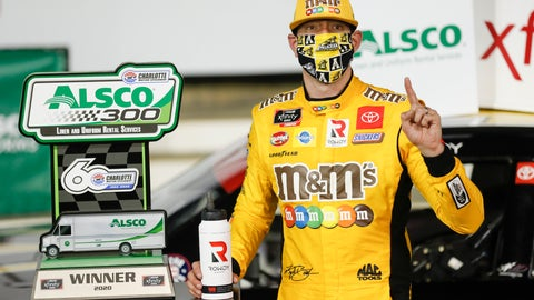 <p>               Kyle Busch celebrates after winning the NASCAR Xfinity Series auto race at Charlotte Motor Speedway Monday, May 25, 2020, in Concord, N.C. (AP Photo/Gerry Broome)             </p>