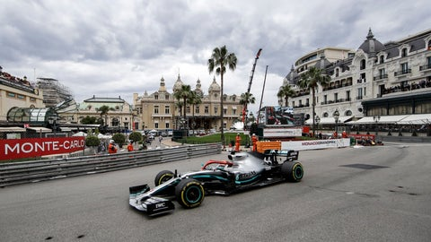 <p>               FILE - In this Sunday, May 26, 2019 file photo, leading Mercedes driver Lewis Hamilton of Britain steers his car during the Monaco Formula One Grand Prix race, at the Monaco racetrack, in Monaco. Formula One's raucous circus won't be coming on May 24, 2020 for the iconic Monaco Grand Prix. The race was canceled on March 19 because of the coronavirus outbreak, with the jewel in F1′s crown removed for the first time in 66 years. (AP Photo/Luca Bruno, File)             </p>